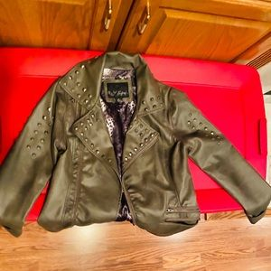 Faux Leather jacket with pewter studs